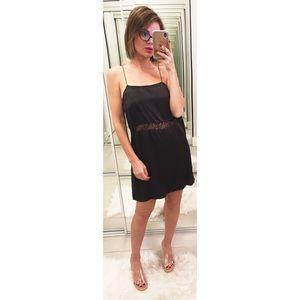 Zara Satin Lace Inset Slip Cami Dress in Black